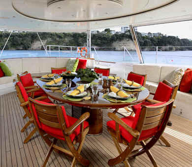 Sailing yacht Q outdoor dining