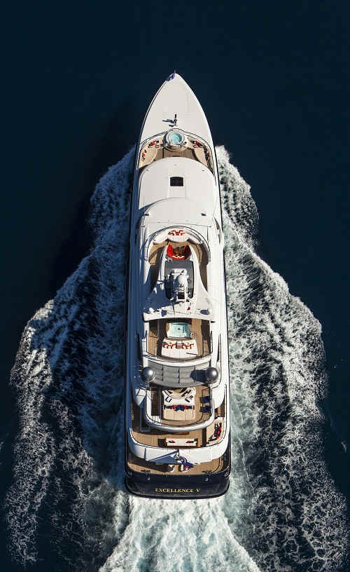 Yacht Excellence V aerial shot